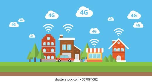 4g network wifi internet city smart city  wireless broadband