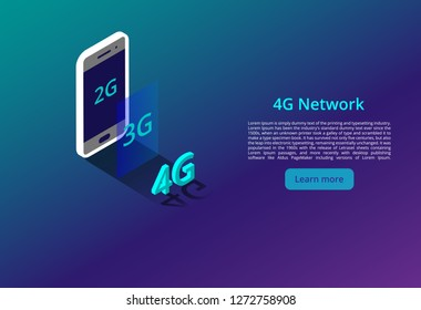 4G new wireless internet wifi connection. isometric vector concept. automation with computer networking illustration