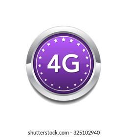 4g Sign Circular Purple Vector Button Icon