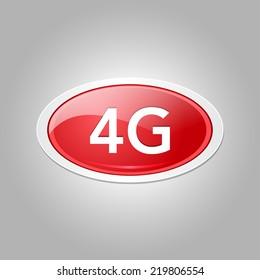 4g Sign Circular Red Vector Button Icon