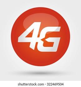 4G sign icon. Mobile telecommunications technology symbol. Orange Badge, White background.