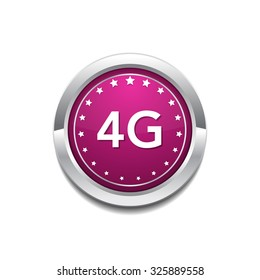 4g Sign Pink Vector Button Icon