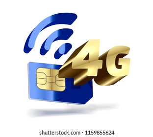 4G vector gold icon. Mobile blue sim card.
