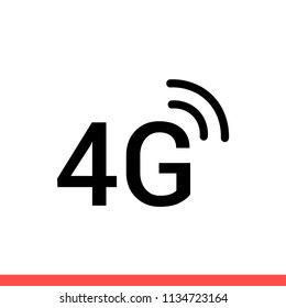 4G vector icon, connection symbol. Simple, flat design for web or mobile app
