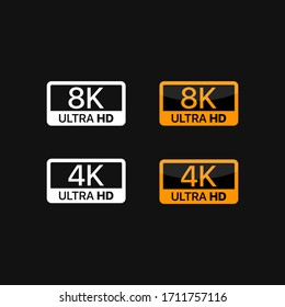 4K and 8K logo icons. Black, white and golden video or screen resolution icons.