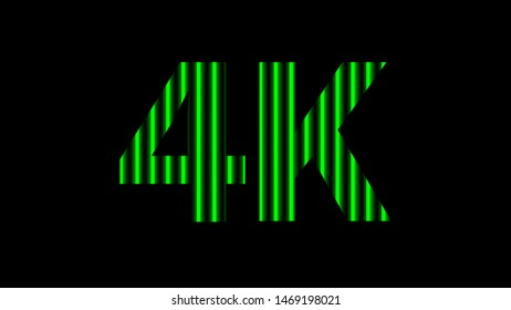 4k alphabet digital neon light green on black, high definition 4k for modern background, 4k resolution of technology screen for backdrop display