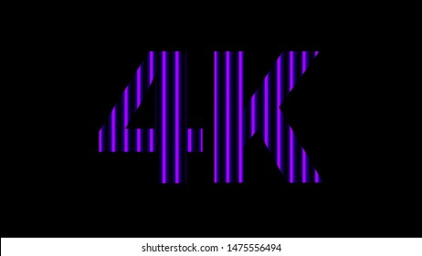 4k alphabet digital neon light purple violet on black, high definition 4k for modern background, 4k resolution of technology screen for backdrop display