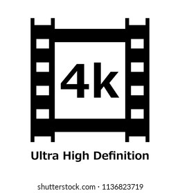 4k black icon with ultra high definition