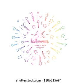 4K followers greeting emblem. Social media symbol with firwork stars decoration in linw art style. Vector label for blog or site design.
