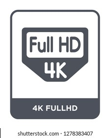 4k fullhd icon vector on white background, 4k fullhd trendy filled icons from Cinema collection, 4k fullhd vector illustration