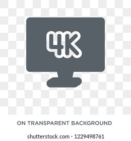 4k icon. Trendy flat vector 4k icon on transparent background from Cinema collection. High quality filled 4k symbol use for web and mobile