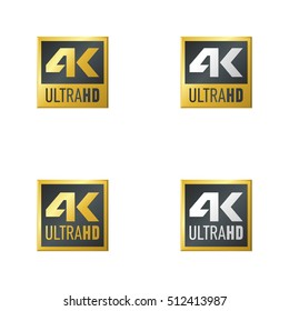 4K sign logo set. Ultra HD sign logo.