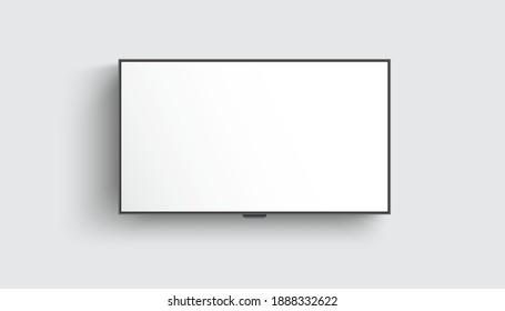 4K TV flat screen lcd or oled, plasma, realistic illustration, White blank monitor mockup. wide flatscreen monitor hanging on the wall