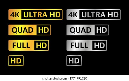 4K UHD, Quad HD, Full HD and HD resolution presentation nameplates of gold and silver gradient color on black background. TV symbols and icons of different colors. Vector illustration.