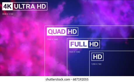 4K UHD, Quad HD, Full HD and HD resolution presentation scale frame with abstract color powder background. Vector illustration with TV symbols and icons