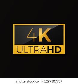 4K ultra HD icon . Bright golden high resolution