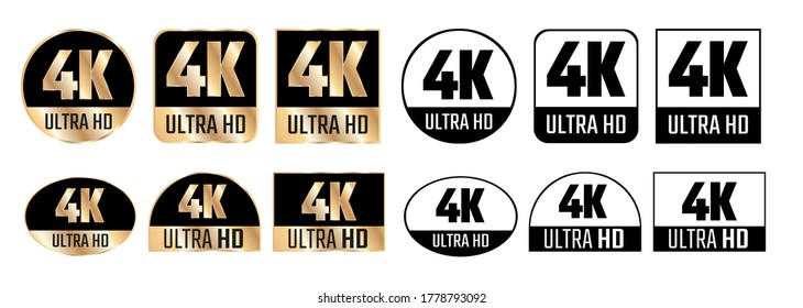4k Ultra Hd icon. Vector 4K UHD TV symbol of High Definition monitor display resolution standard.