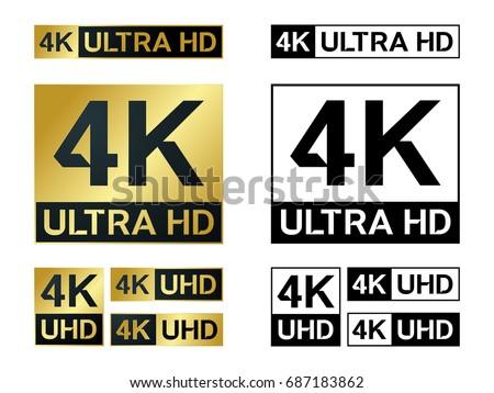 4k Ultra Hd Icon Vector 4k Uhd Tv Symbol Of High Definition Monitor Display Resolution