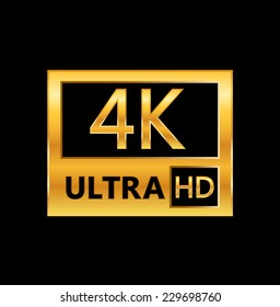 4K ultra HD sign isolated on black background