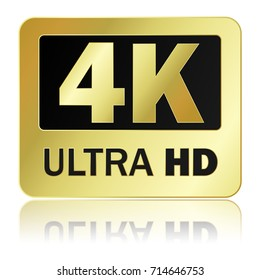 4K ultra HD sign with reflection on white background, Vector illustration