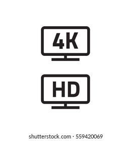 4k ultra hd tv and full hd television icons set line outline style, black hd video emblem label for lcd or led tv flat screen isolated on white