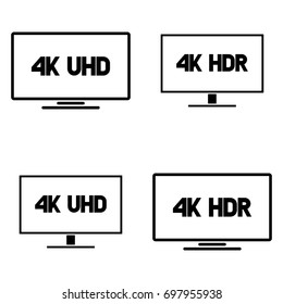 4k Ultra HD TV vector icon set