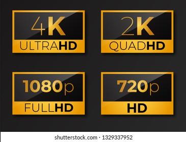 4k  ultrahd , 2k quadhd , 1080 fullhd and 720 hd  dimensions of video