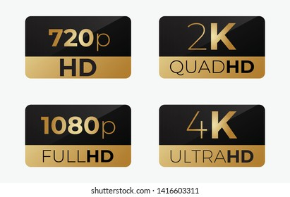 4k ultrahd , 2k quadhd , 1080 fullhd and 720 hd dimensions of video