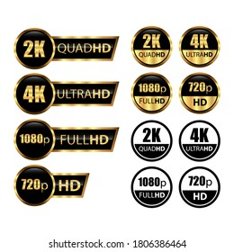 4k ultrahd, 2k quadhd, 1080 fullhd, 720 hd dimensions of video, Video resolution icon logo. TV/Game screen monitor display label. High Definition tags, icons. HD Ready, HD, Full HD and Ultra. Gold