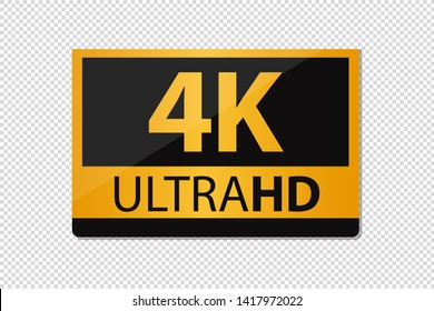 4K UltraHD Sticker Icon - Vector Illustration - Isolated On Transparent Background