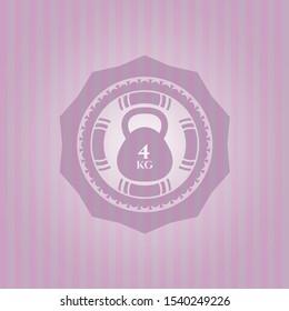 4kg kettlebell icon inside retro style pink emblem
