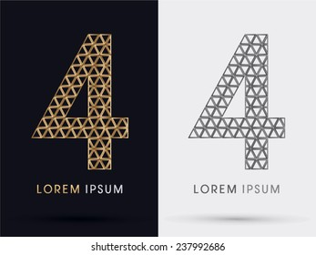 4,Number four, fourth alphabet  font from Gold triangle, logo, symbol, icon, graphic, vector .