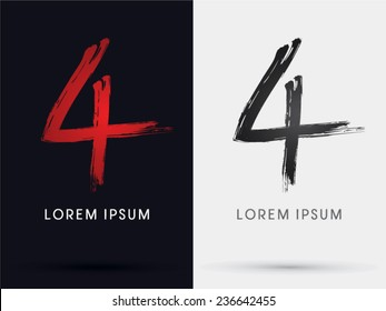 4,Number four grungy font, brush, logo, symbol, icon, graphic, vector .