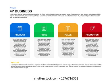 4P business mix infographic Multi color banner flat design in vector