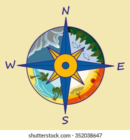 A 4-point compass rose