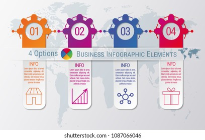 4-steps timeline infographic design vector template. Graphic elements with four options of business data