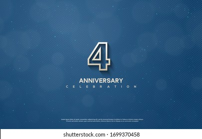 4th anniversary background with illustrations of figures and writing below on a dark blue background.
