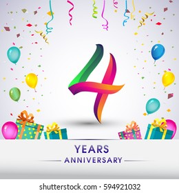 4th Anniversary Celebration Design, with gift box, balloons and confetti, Colorful Vector template elements for your, four years birthday celebration party.
