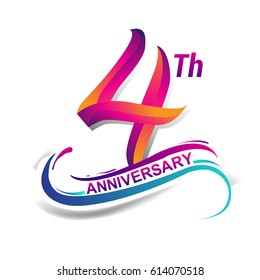 4th anniversary celebration logotype blue and red colored. four years birthday logo on white background.