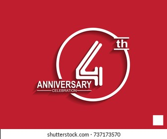 4th anniversary celebration logotype with linked number in circle isolated on red background