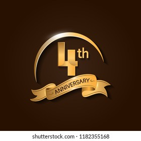4th Anniversary design logotype. Anniversary logo design with swoosh and elegance golden ribbon. Vector template for use celebration, invitation card, and greeting card