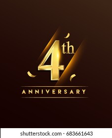 4th anniversary glowing logotype with confetti golden colored isolated on dark background, vector design for greeting card and invitation card.