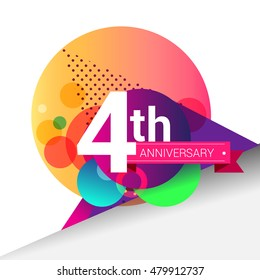 4th Anniversary logo, Colorful geometric background vector design template elements for your birthday celebration.