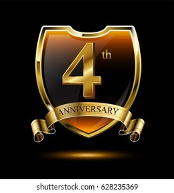 4th anniversary logo with golden shield and ribbon. Vector illustration celebration template