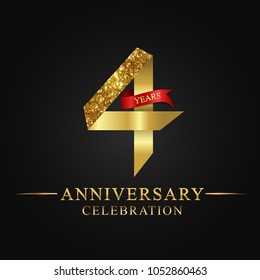 4th anniversary years celebration logotype. Logo ribbon gold number and red ribbon on black background.