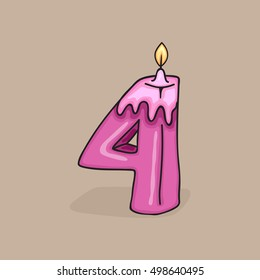 4th Birthday Candle Number .Vector design template elements for your birthday celebration.
