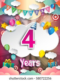 4th Birthday Celebration greeting card Design, with clouds and balloons. Vector elements for the celebration party of four years anniversary