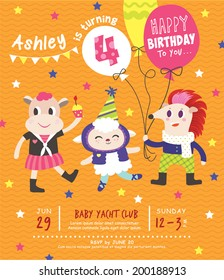 4th Birthday Party Invitation Card