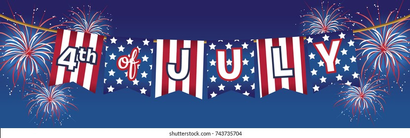 4th Fourth of July Independence Day Stars and Stripes Banner with Colorful Fireworks