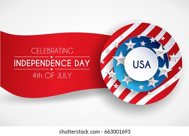 4th fourth of July, United Stated (USA) independence day greeting, typographic design. United states of America. Fourth of July. Banner, border with stars, balloons, fireworks,confetti, ribbon. USA.
